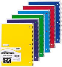 """Mead 05512 Spiral Notebook, College Ruled 7.5"""" x 10.5"""" 70"""