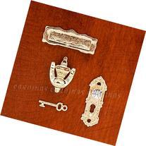 Odoria 1:12 Miniature Golden Door Knocker Lock Doorplate Set