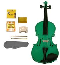 GRACE 1/16 Size Green Acoustic Violin with Case+Rosin+2 Sets