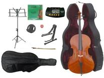 Merano 1/2 Size Student Cello with Hard Case, Bag and Bow+2