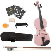 Mendini 1/4 MV-Pink Solid Wood Violin with Hard Case,