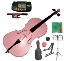 Merano 1/8 Size Pink Student Cello with Bag and Bow+2 Sets
