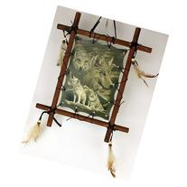 1 X Framed Indian WOLVES Picture Native American Art 9 x 11