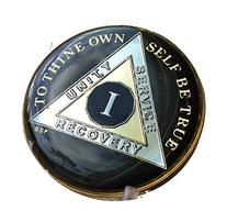 1 Year Classic Black AA Alcoholics Anonymous Medallion