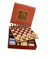 5 in 1 Classic Game Set, Wooden Board, Chess, Checkers,