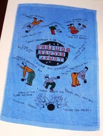 "1 Excuse, Crying Bowling Towel Blue Terry Cloth 15"" X 24"""