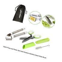 Asscom 3-In-1 Garlic Press and Peeler Set+Herb Scissors