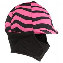 Tough-1 Pink Zebra Lycra Helmet Cover with Fleece Neck and