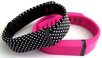 Large 1 Pink 1 Black with White Dots Spots Band for Fitbit