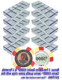10 Acrylic Stackable 100-Chip Poker Chip Trays / Racks