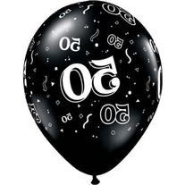 Qualatex 50-A-Round Biodegradable Latex Balloons, Onyx Black
