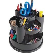 Staples 10 Compartment Rotating Desk Organizer, Black