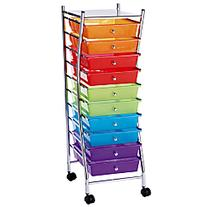 Realspace 10-Drawer Mobile Organizer, 37 3/4in.H x 13 1/8in.