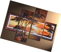 100% Hand-painted Wood Framed Beautiful Woods Sun Tree High