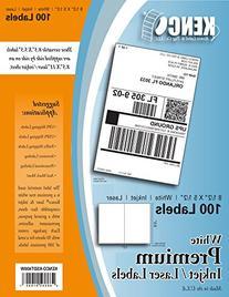 """100 Labels! Kenco® 8.5"""" X 5.5"""", two per sheet premium white"""