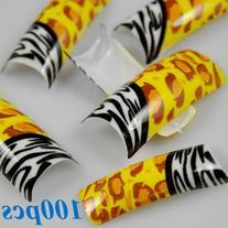 100 Stunning Leopard Zebra Mixed Designs False French Nail