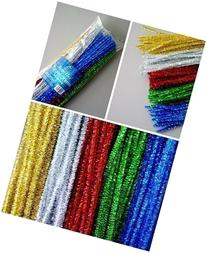 100 Tinsel Craft Stems / Glitter Pipe Cleaners by Bright