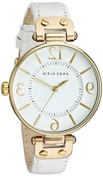 Anne Klein Women's 109168WTWT Gold-Tone and White Leather