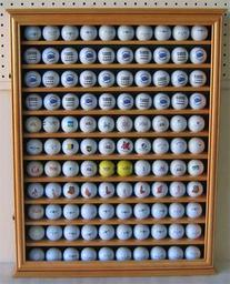 110 Golf Ball Display Case Wall Cabinet Holder, Solid Wood