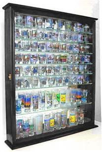 110 Shot Glass Display Case Shadow Box Wall Cabinet, Glass