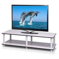 Furinno 11175WH/WH Just No Tools Wide TV Stand, White w/