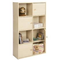 Furinno 11237SBE Pasir 4-Tier Shelf with 4 Door/Round Handle