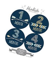 Modish - Creative Collective 12 Monthly Baby Stickers, Navy