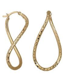 Lord & Taylor 14 Kt. Yellow Gold Textured Hoop Earrings