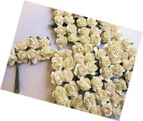 """144pc Mulberry Paper 1/2"""" Rose Flower with Wire Stem"""