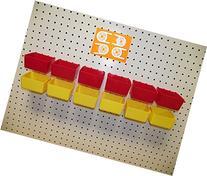 "16 PACK 1/4"" HOLE Peg Board Workbench Bins  Red bins &"