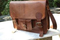 """Handolederco 16""""leather Shoulder Messenger Laptop Bag"""
