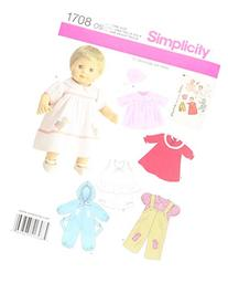 Simplicity 1708 Baby Doll Clothes Sewing Pattern, 15-Inch