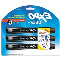 EXPO Click Dry Erase Markers, Chisel Tip, Black, 3 per Pack