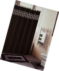 18 Piece Embroidered Bathroom Set Bath Rugs Shower Curtain