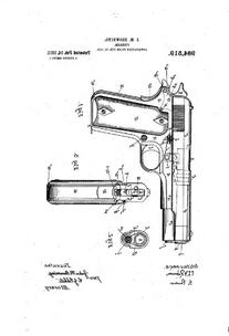1911 BROWNING 984519 Colt Browning Pistol Patent