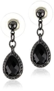 1928 Jewelry Womens Epoxy Black-Tone Black Faceted Tear