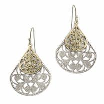 1928 Jewelry Silver-Tone Filigree Pearshaped Earrings, 1 pr