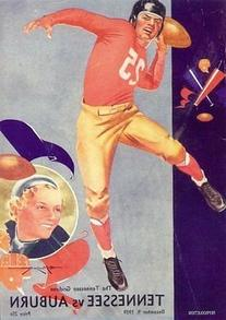 1939 Tennessee vs Auburn Football Program Postcard Official