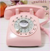 Glodeals 1960's Style Pink Retro Old Fashioned Rotary Dial