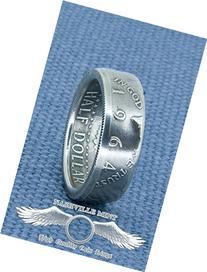 1964 Silver Coin Ring Handmade '64 JFK Kennedy US Half