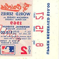 1969 World Series Game 2 Upper Reserved Ticket Stub Section