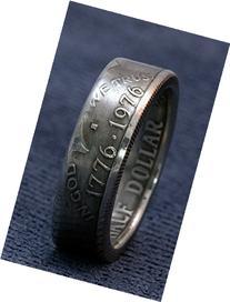 1976 Silver Half Dollar Coin Ring JFK Kennedy 40% Silver US