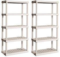 2) Sterilite 01558501 Durable 5-Shelf Upright Ventilated