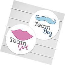 "2"" Gender Reveal Stickers, Team Boy and Team Girl Stickers"