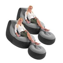 2 Pack Intex Ultra Lounge Inflatable Chair w/ Ottoman Sofa