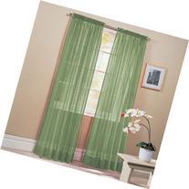2 Piece Solid Sage Green Sheer Window Curtains/drape/panels/
