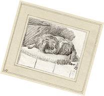 2 Antique Master Prints-DOG-SLEEPING-Ploos van Amstel/