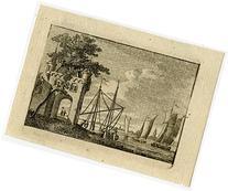 2 Antique Master Prints-LANDSCAPE-RIVER-SAILING-Anonymous-ca