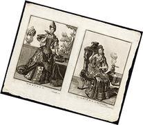 2 Antique Master Prints-SENSES-TOUCH-TASTE-SIGHT-HEARING-