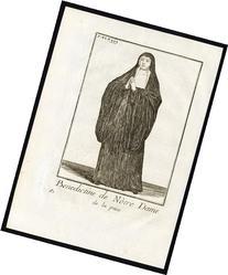 2 Antique Religious Prints-BENEDICTINE NUN-NOTRE DAME DE LA